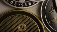 Rotating shot of Bitcoins (digital cryptocurrency) - BITCOIN MIXED 056