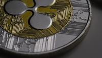Rotating shot of Ripple Bitcoins (digital cryptocurrency) - BITCOIN RIPPLE 0016