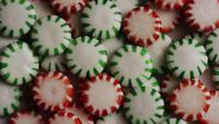 Rotating shot of spearmint hard candies - CANDY SPEARMINT 076