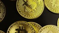 Roterende opname van Bitcoins (digitale cryptocurrency) - BITCOIN 0088