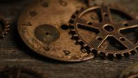 Rotating stock footage shot of antique and weathered watch faces - WATCH FACES 111