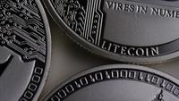 Roterende opname van Litecoin Bitcoins (digitale cryptocurrency) - BITCOIN LITECOIN 0113