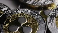 Rotating shot of Ripple Bitcoins (digital cryptocurrency) - BITCOIN RIPPLE 0052