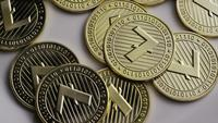Roterende opname van Litecoin Bitcoins (digitale cryptocurrency) - BITCOIN LITECOIN 0024