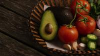 Rotating shot of beautiful, fresh vegetables on a wooden surface - BBQ 119