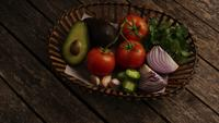 Rotating shot of beautiful, fresh vegetables on a wooden surface - BBQ 117