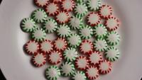 Rotating shot of spearmint hard candies - CANDY SPEARMINT 058