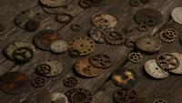 Rotating stock footage shot of antique and weathered watch faces - WATCH FACES 087
