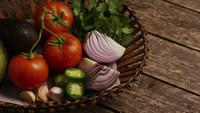 Rotating shot of beautiful, fresh vegetables on a wooden surface - BBQ 120