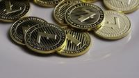 Roterende opname van Litecoin Bitcoins (digitale cryptocurrency) - BITCOIN LITECOIN 0031