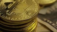 Roterende opname van Bitcoins (digitale cryptocurrency) - BITCOIN 0201