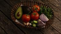 Rotating shot of beautiful, fresh vegetables on a wooden surface - BBQ 118