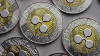 Rotating shot of Ripple Bitcoins (digital cryptocurrency) - BITCOIN RIPPLE 0005