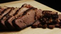 Rotating shot of delicious smoked brisket - BBQ 071