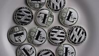 Drehende Aufnahme von Litecoin Bitcoins (digitale Kryptowährung) - BITCOIN LITECOIN 0128