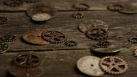 Rotating stock footage shot of antique and weathered watch faces - WATCH FACES 070