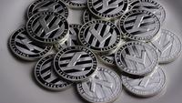 Rotating shot of Litecoin Bitcoins (digital cryptocurrency) - BITCOIN LITECOIN 0154