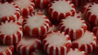Rotating shot of peppermint candies - CANDY PEPPERMINT 063