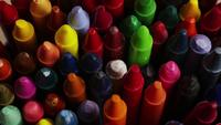 Rotating shot of color wax crayons for drawing and crafts - CRAYONS 007