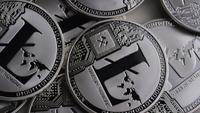 Roterande skott av Litecoin Bitcoins (digital cryptocurrency) - BITCOIN LITECOIN 0170
