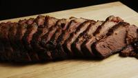 Rotating shot of delicious smoked brisket - BBQ 068