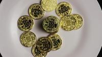 Roterande skott av Bitcoins (digital cryptocurrency) - BITCOIN 0420