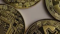 Rotating shot of Bitcoins (digital cryptocurrency) - BITCOIN 0341
