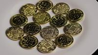 Tiro rotativo de Bitcoins (cryptocurrency digital) - BITCOIN 0349