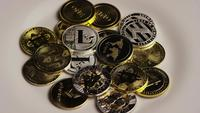 Rotating shot of Bitcoins (digital cryptocurrency) - BITCOIN MIXED 061