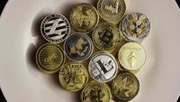 Rotating shot of Bitcoins (digital cryptocurrency) - BITCOIN MIXED 001
