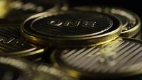 Rotating shot of Bitcoins (digital cryptocurrency) - BITCOIN LITECOIN 337