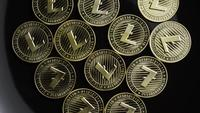 Rotating shot of Bitcoins (digital cryptocurrency) - BITCOIN LITECOIN 189