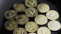 Drehende Aufnahme von Bitcoins (digitale Kryptowährung) - BITCOIN LITECOIN 279