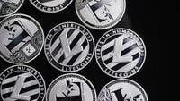 Rotierende Aufnahme von Bitcoins (digitale Kryptowährung) - BITCOIN LITECOIN 503