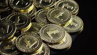 Drehende Aufnahme von Bitcoins (digitale Kryptowährung) - BITCOIN LITECOIN 239