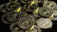 Rotierende Aufnahme von Bitcoins (digitale Kryptowährung) - BITCOIN LITECOIN 240