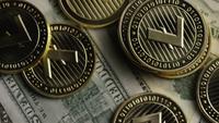 Drehende Aufnahme von Bitcoins (digitale Kryptowährung) - BITCOIN LITECOIN 566