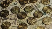 Drehende Aufnahme von Bitcoins (digitale Kryptowährung) - BITCOIN MONERO 199