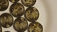 Roterande skott av Bitcoins (Digital Cryptocurrency) - BITCOIN MONERO 004