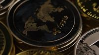 Rotating shot of Bitcoins (digital cryptocurrency) - BITCOIN MIXED 024