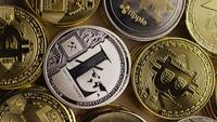Rotating shot of Bitcoins (digital cryptocurrency) - BITCOIN MIXED 006