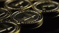 Rotating shot of Bitcoins (digital cryptocurrency) - BITCOIN LITECOIN 222