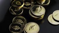Rotating shot of Bitcoins (digital cryptocurrency) - BITCOIN ETHEREUM 173