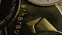 Rotating shot of Bitcoins (digital cryptocurrency) - BITCOIN ETHEREUM 204