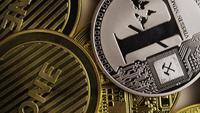 Rotating shot of Bitcoins (digital cryptocurrency) - BITCOIN MIXED 054