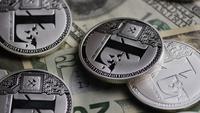 Rotating shot of Bitcoins (digital cryptocurrency) - BITCOIN LITECOIN 641