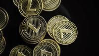 Drehende Aufnahme von Bitcoins (digitale Kryptowährung) - BITCOIN LITECOIN 342