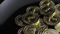 Rotierende Aufnahme von Bitcoins (digitale Kryptowährung) - BITCOIN LITECOIN 242