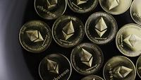 Rotating shot of Bitcoins (digital cryptocurrency) - BITCOIN ETHEREUM 103