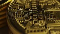 Rotating shot of Bitcoins (digital cryptocurrency) - BITCOIN MIXED 026